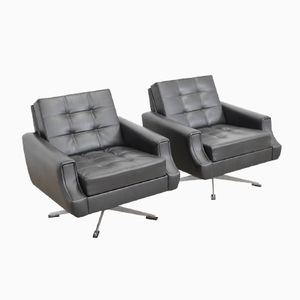 Metal and Leatherette Club Chairs, 1970s, Set of 2