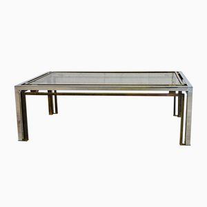 Italian Brass and Chrome Coffee Table by Romeo Rega, 1970s