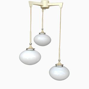 Suspension Mid-Century en Verre Opalin