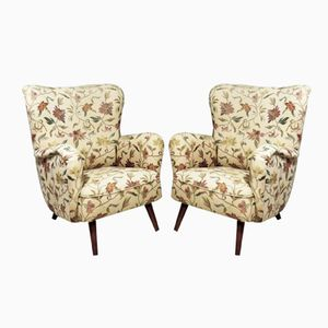 Lounge Chairs with Flowers, 1950s, Set of 2