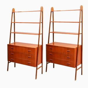 Danish Teak High Cabinets with Drawers, 1960s, Set of 2