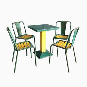 Industrial Green Dining Set By Xavier Pauchard For Tolix, 1950s