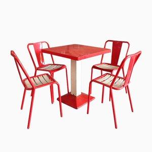 Industrielles Esszimmerset in Rot & Weiß von Xavier Pauchard für Tolix, 1950er