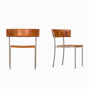 Steel & Leather SIde Chair by Erik Karlström