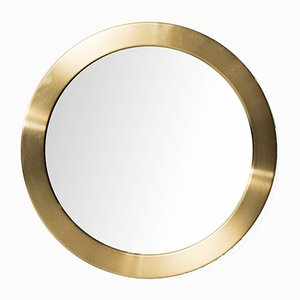 Swedish Round Brass Mirror by Glasmäster