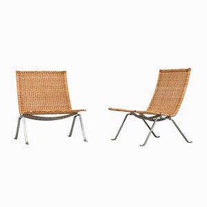 Dänische PK-22 Sessel von Poul Kjærholm für E. Kold Christensen, 1950er, 2er Set