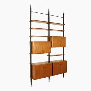 Adjustable Teak & Metal Floor-to-Ceiling Bookcase, 1950s