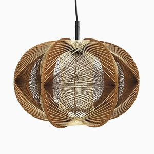 French Wood and String Hanging Light, 1960s