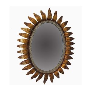 french gold metal sun mirror 1950s