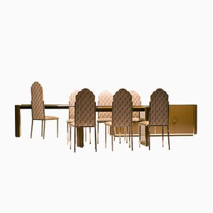 French Dining Room Set by Alain Delon for Maison Jansen, 1970s, Set of 10