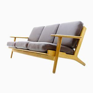 Dänisches Sofa aus Eiche & Leder von Hans J. Wegner für Getama, 1960er