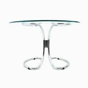 Mid-Century Italian Glass & Chrome Dining Table, 1970s