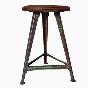 Vintage Industrial Wood & Metal Stool from Rowac