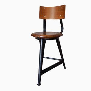 Industrieller Deutscher Vintage Stuhl aus Holz & Metall