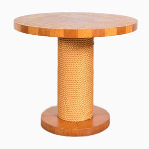 Vintage Wood and Rope Side Table, 1960s