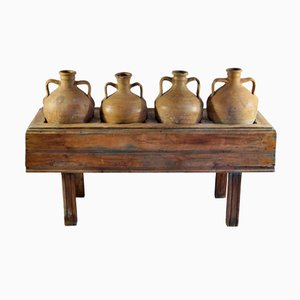 Antique Italian Table with Four Olive Oil Jars