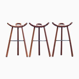 Spanish Brutalist Bar Stools, Set of 3