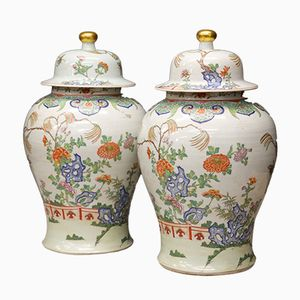 Chinese Export Lidded Vases, 1900s, Set of 2