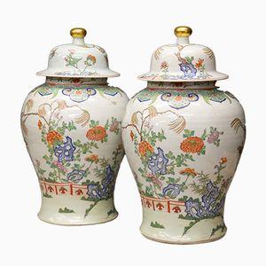 Chinese Export Vasen mit Deckel, 1900er, 2er Set
