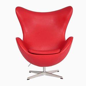 Dänischer Roter 3316 Leder Egg Chair von Arne Jacobsen für Fritz Hansen, 1980er