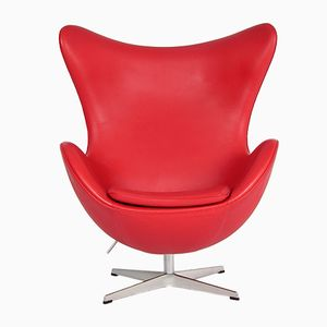 Danish 3316 Red Leather Egg Chair by Arne Jacobsen for Fritz Hansen, 1980s