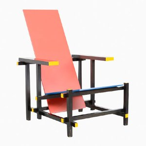 Armlehnstuhl in Rot & Blau von Gerrit Rietveld für Cassina, 1970er