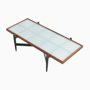 Vintage Teak Coffee Table with Frosted Glass Top