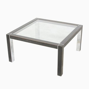 Vintage Chrome and Wood Coffee Table