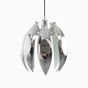 Chrome and White Pendant Lamp