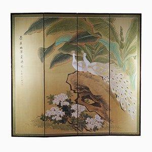 Paravento Mid-Century dipinto a mano a motivo floreale con pavoni, Cina
