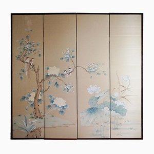 Paravento Mid-Century dipinto a mano, Cina
