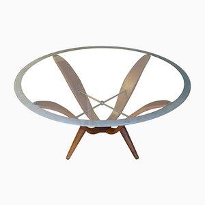 Italian Walnut, Brass & Glass Coffee Table, 1950s