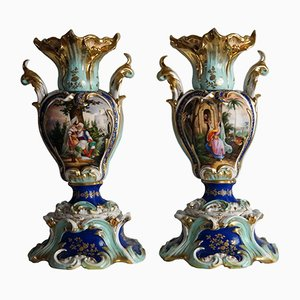 Vases Antique Peints à la Main, 1850s, Set de 2