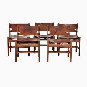 Dänische Modell 3251 Hunting Stühle von Børge Mogensen für Fredericia Furniture, 1960er, 5er Set