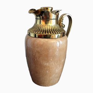 Lacquered Goatskin and Brass Jug by Aldo Tura
