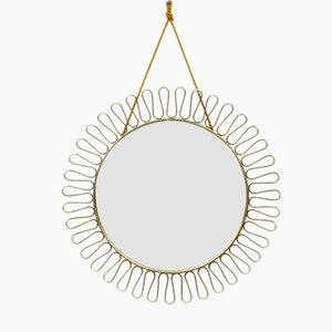 Round Swedish Brass Mirror, 1950s