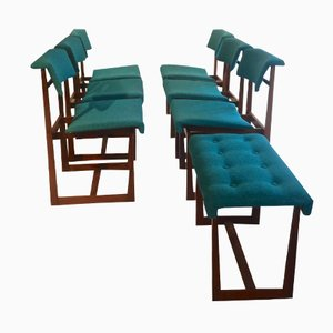 Dining Chairs and Stool by Henning Sørensen for Hos Dan-Ex, Set of 7