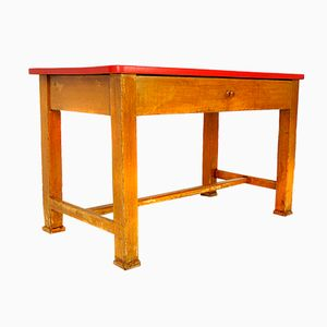 Austrian Red Table with Drawer, 1950s