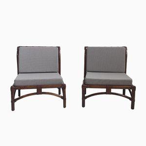 Französische Sessel aus Leder, Bambus und Stoff, 1960er, 2er Set