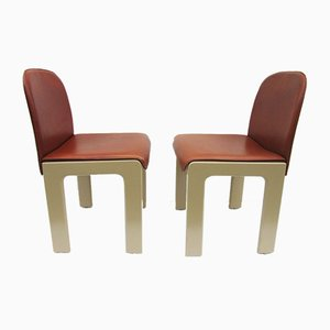 Leather & Lacquered Wood Chairs by Tobia Scarpa, 1970s, Set of 2