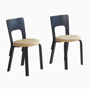Mid-Century Finnish Model 66 Dining Chairs by Alvar Aalto for Artek, Set of 2
