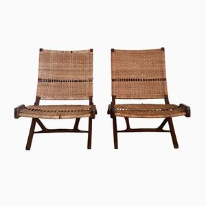 Danish Caned Foldable Chairs, 1960s, Set of 2