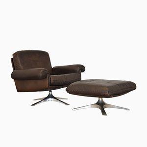 Vintage DE Sede Ds 31 Swivel Armchair and Ottoman