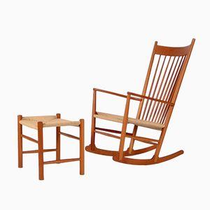 Rocking Chair et Ottomane par Hans J. Wegner pour Fredericia, 1958