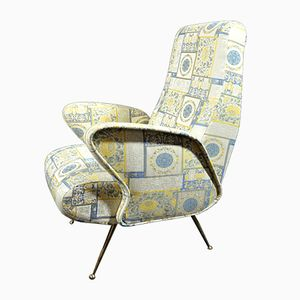 Italian Mid-Century Armchair with Brass Legs, 1950s