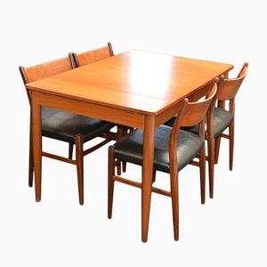 Ausziehbarer Mid-Century Teakholz Tisch und Vier Stühle von Pastoe