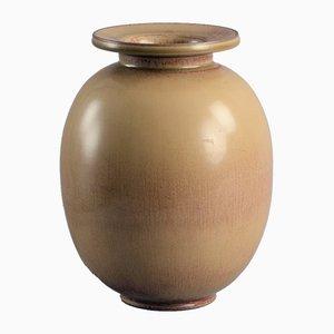 Goldbraune Glasierte Vase von Gunnar Nylund für Rorstrand, 1940er