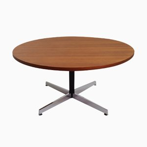 Vintage Italian Height-Adjustable Round Teak Dining Table, 1970s