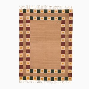 Red, Green & Beige Embroidered Persian Kilim Rug
