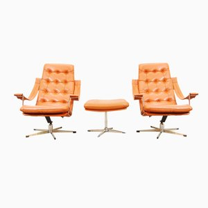 Lounge Chairs & Ottoman by Geoffrey Harcourt for Artifort, 1960s, Set of 3